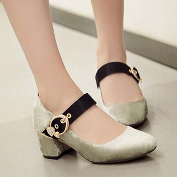 Low-Cut Rhinestone Flock Mary Janes Chunky Heel Pumps 4386