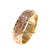 14K YELLOW ROSE GOLD HAND ENGRAVED HAWAIIAN PLUMERIA SCROLL 4MM/6MM DOUBLE RING SIZE 2 TO 14