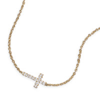 16in 14 Karat Gold Plated Necklace with Cubic Zirconia Cross