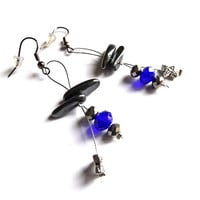 Hematite earrings, Dangle earrings, Grey & Blue earrings, Earrings for women