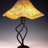 Spiral Lamp Oriental Yellow Fluted by Joel and Candace  Bless: Art Glass Table Lamp - Artful Home