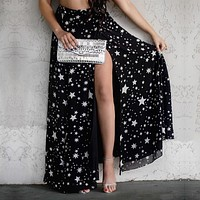 Star Print Fashion Chiffon Split Skirt