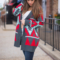 Tribe Time Cardigan, Red
