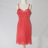Vintage 1950s Full Red Slip Dress Nightgown Lace Pin-up M 34