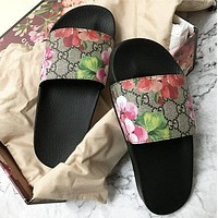 Gucci Women Casual Fashion Floral Sandal Slipper Shoes