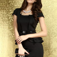 Cap Sleeves Squared Neckline Black Peplum Dress with Heart-shape Cutout