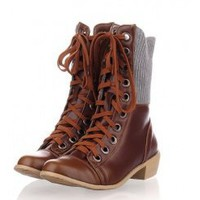 Wholesale 2012 woolen mouth boots cross belts low heel boots QZ-JL-F-3 yellow - Lovely Fashion
