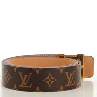 DCCK3 mens louis vuittion initiales monogram belt brown & gold brand new size 40MM