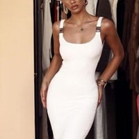 Japanira Elegant Bandage White Fashion Dress