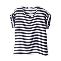 Women Chiffon Blouses T Shirts Tops Ladies Loose Short Sleeve T-shirts Blouses Striped Heart Lip Hotsale 2015 Freeshipping