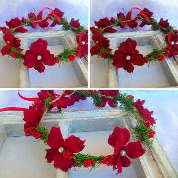 Flower Crown,Red Halo Wreath,Headband red,Red holiday crown,Red berry crown,Winter halo,Winter wedding, Woodland hairpiece,flower crown etsy