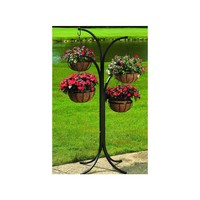 CobraCo 12 in. Metal Hanging Basket (4-Pack) with Tree Stand-HB4T-A at The Home Depot