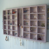 Antique rose Jewelry Organizer display with gold hooks - Earring, necklace holder - distressed wood - handmade