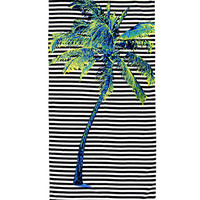Striped Palm Tree Beach Towel
