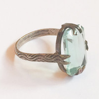 Aquamarine Glass Snake Ring French Silver 800 Art Deco Vintage Jewelry