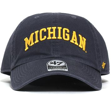 University of Michigan Wolverines Team Arch Clean Up Hat Vintage Navy