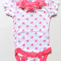 Girls Gerber Onesuit(R) with pink shabby flowers, Infant Onesuit, Hospital homecoming outfit, 0 to 3 months, Baby girl clothes, Pink Onesuit