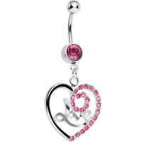 Pink Gem Gleaming Love Heart Dangle Belly Ring | Body Candy Body Jewelry