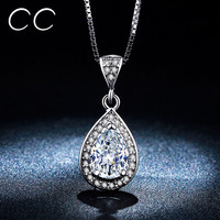 Vintage Water Drop Necklaces & Pendants CZ Diamond Engagement Wedding Jewelry White Gold Plated Necklace for Party Gifts MSN003