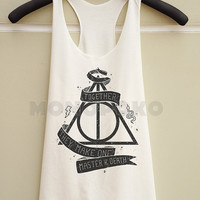 S M L -- Deathly Hallows Shirts Harry Potter Shirts Harry Potter Top Women Tank Top Racer Shirts Racer Tank Top Women TShirts Women T-Shirts