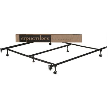 Queen-Size Metal Bed Frame with Rug Rollers & Headboard Brackets