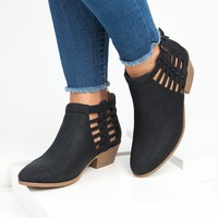 Cutout Stacked Heel  Booties