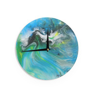 """Carol Schiff """"Turquoise And Green Abstract"""" Blue Teal Wall Clock"""