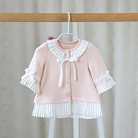 In the autumn of 2016 new childrens coat girls coat color sweet baby lace bow cardigan cute jacket clothes baby girls