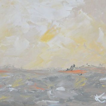 Original Abstract Landscape Coastal Painting 9x12 Seascape Yellow Grey Beach Acrylic Painting