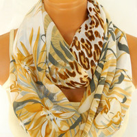 Spring infinity Scarf,Loop Scarf,Circle Scarf,Brown, Mustard Leopard Pattern chiffon fabric Scarf,Nomad Cowl. Leopard Pattern,