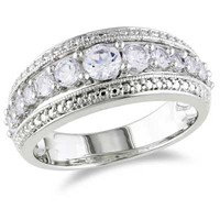 Lab-Created White Sapphire Band in Sterling Silver