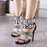 Summer Design High Heel Roman Crystal Sandals = 4814684548