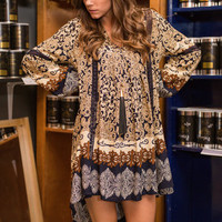 Priceless Patterns Tunic, Navy