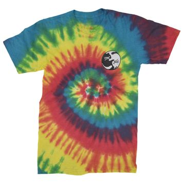 Embroidered Yin Yang Cats Patch (Pocket Print) Mens Tie-Dye T-shirt