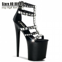 High Heel Fashion Punk Style Rivets Shoes Womens Motorcycle Platforms Shoes 20cm Sexy Clubbing High Heels = 1945681988