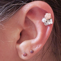 Peach Rose and Butterfly with Pearl Cartilage Earring