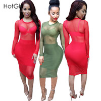 Summer 2016 Plus Size Women Clothing Solid Red Sexy Club Wear Mesh Sheer Party Dresses Knee Length Bodycon Bandage Lace Dress