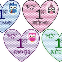 Baby's 1st Holiday and Milestones Onesuit Stickers 16 events - Heart Shaped Bodysuit Iron-On Transfers Download - Hanukkah, Easter & More!!