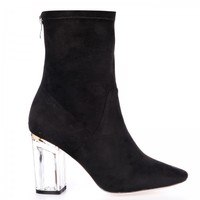 Chloe Ankle Boots In Black Faux Suede