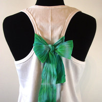 Mint Bow Tank Top, OMBRE Mint Bow on White TShirt, Racerback Tshirt with Romantic Bow, MORE COLORS, Pima Peruvian Cotton