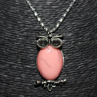 Silver/ Light Pink Oval Stone Owl Pendant Necklace