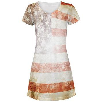 4th of July American Flag Star Spangled Banner All Over Juniors Beach Cover-Up Dress