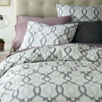 Organic Ikat Links Duvet Cover + Shams - Platinum