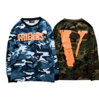 High Quality Men VLONE Long sleeves T-Shirts Friends V Print Camouflage