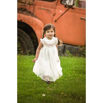 Magnolia White Ruffle & Tulle Smocked Dress