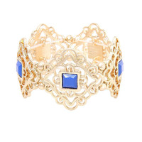 Blue Diamond Cut Out Stretch Bracelet