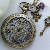 Alice in Wonderland - Vintage Filigree Pocket Watch Necklace with Rabbit and Skeleton Key Charm