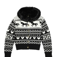 Pitch Black / Ange Fur Collar Fairisle Cardigan by Juicy Couture,