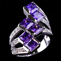Lady's Amethyst  Sapphire 14KT White Gold Filled Ring