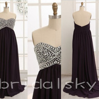 Amazing 2014 New Arrival Elegant Strapless Beaded Long Black Chiffon Formal Party Evening/Prom Dreses